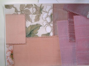 Photocopied scraps of material with drawn on stitching