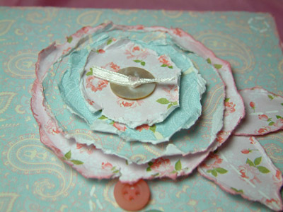 Baby Girl Card - Close of the Ripped Paper Flower