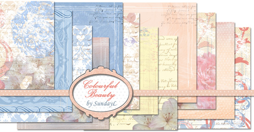 Hybrid Scrapbooking Papers - Colourful Beauty by SundayL
