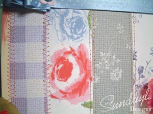 Stitched patchwork style card close up