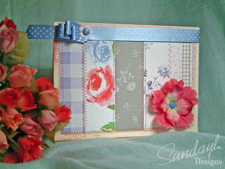 Stitched patchwork-style card ready for a greeting to be added