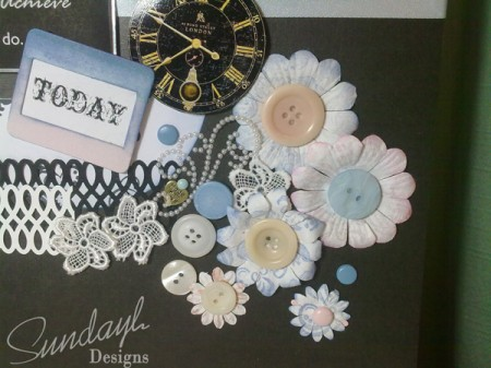 """All The Time I Need"" scrapbook layout Close up 1"