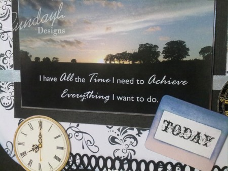 """All The Time I Need"" scrapbook layout Close up 2"