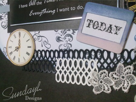 """All The Time I Need"" scrapbook layout Close up 4"