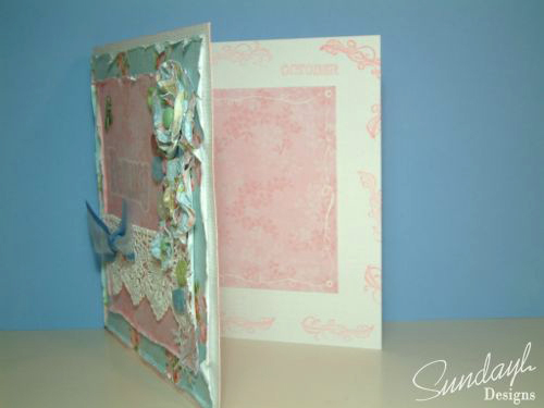 Birthday card using wet scrunched paper flowers inside
