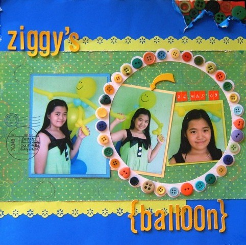 Ziggy's Balloon by Timi Mercado - a scrapbook page based on the sketch in the June issue of the Newsletter