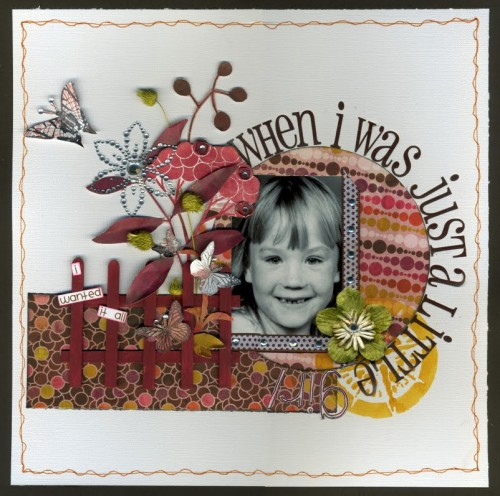 "Just a Little Girl - page made using Basic Grey ""Indian Summer"" Papers"