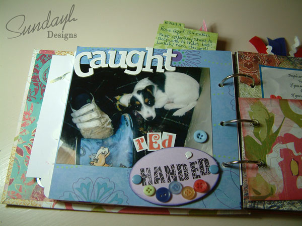 Scrapbook page- Caught Red Handed- Dog page