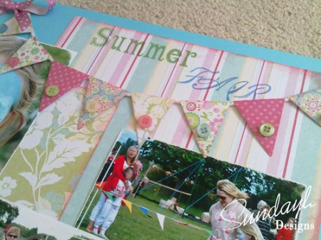 'Summer Fair' Scrapbook page by SundayL Flags Closeup