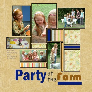 Another digital page depicting images from a Birthday Party.  This page also has space for added embellishments, such as flowers and buttons after printout.