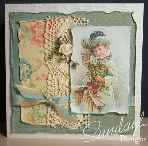 Lady in Snow Vintage Style Card by SundayL